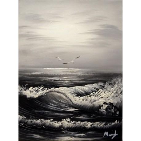 Морской прибой. Черно-белый